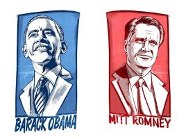Barack Obama and Mitt Romney by Tony Shasteen by AshcanAllstars