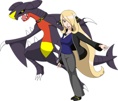 Mega Evolution Trainer Cynthia and Garchomp by LucarioShirona