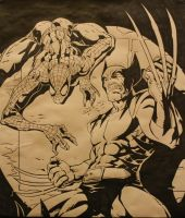 Inked Spiderman and Wolverine by Thestickibear