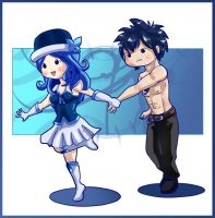 Gray and Juvia Chibi by AlmightyHighElf