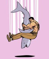Haggar piledriving a shark by jnkboy