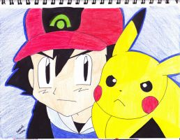 ash and pikachu serious by Yami-The-Orca