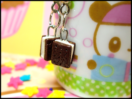 Ice Cream Sandwich Earrings by GrandmaThunderpants