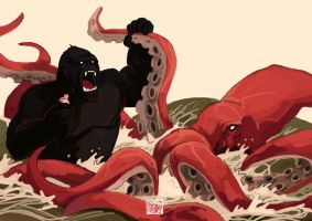 K for King Kong VS Kraken by tohdraws