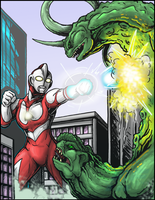 Ultraman vs. Bogun by AlmightyRayzilla