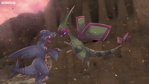 Flygon and Gaburias | Garchomp Commission by AutobotTesla