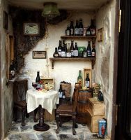 Vintage Country small Wine Shop -Ooak wine bar by dollhouseara