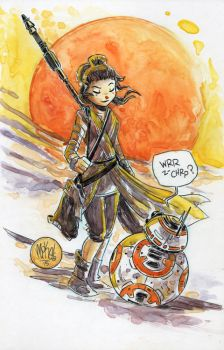 Watercolor: Rey and BB-8 by mikemaihack