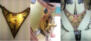 Steampunk Leather / Brass Geared Necklace / Ascot by deadlanceSteamworks