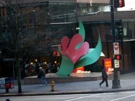 Red Flower statue by mgcat989