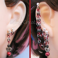 Black and Red Heart Connecting Chain Earrings by merigreenleaf