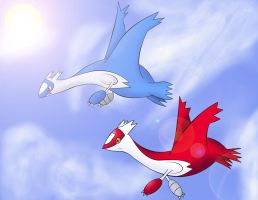 Latios and Latias flyin' high by Resistance-Of-Faith