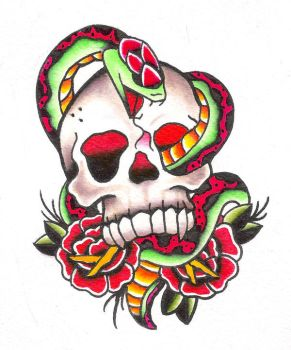 Skull and snake tattoo design by jaimie13