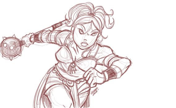 warrior princess sketch- by travisJhanson