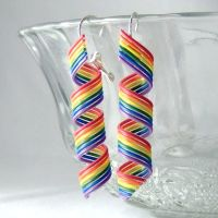 Rainbow Wire Spiral Earrings by Techcycle
