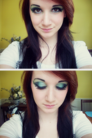 Peacock inspired makeup. by kamikazekaitlin