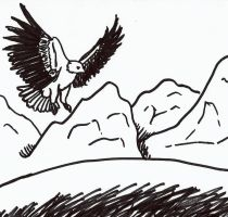 Bald Eagle and Mountains by Drabble-Monster