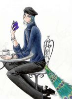 Peacock Boy at a cafe by Mistress-D