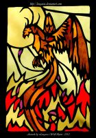 Phoenix - stained-glass window by Lougaria