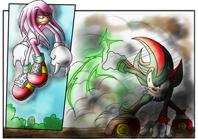 Hyper Knuckles vs Shadow - coloured version by DunaLonghorn