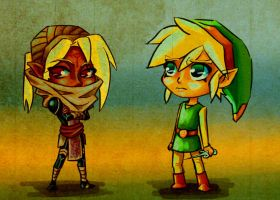 Sheik and Link WW Style by SageSins
