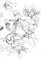 Sonic characters doodle by AkiruNyang