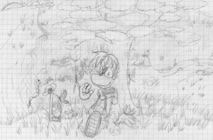 Rayman with butterflies -sketch- by AishaPachia