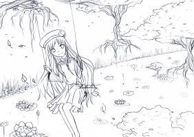 Above the Lotus Pond Line Art by KeyPassions