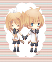 Chibi Rin and Len :3 by Rejuvenesce