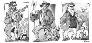 Allan Quatermain, Indiana Jones, and Zap Rowsdower by Snipetracker