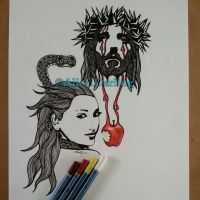 JESUS, EVE AND THE SERPENT by alice-darling-art