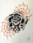 Neo-Traditional Tattoo Rose by StevenWorthey