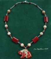Flame Jasper Rabbit Necklace by Cillana