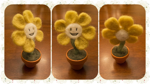 OOAK Flowey the Flower Needle Felted Commission by Flick-and-Stitch