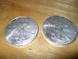 Two Brand New Silver Eagles 2012 Front by Miss-Merlina