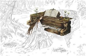 Playing Piano in the Forest - WIP by annimalise