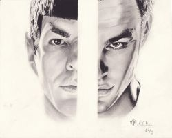 Spock and Kirk by withmyowneyes