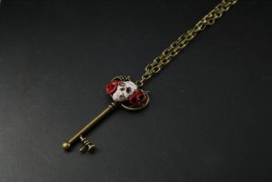 Polymer Clay Skull and Rose Key Necklace by ArtfulParadox
