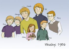 The Weasleys 1987 colored by alibabeia