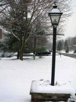 Snowy Lamppost II by LithiumStock