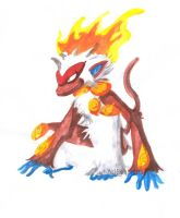 Infernape - watercolor by TamarinFrog