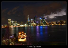 Perth with lightning by ice-bear