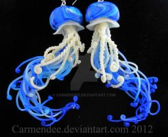 ocean blue jellyfish earrings by carmendee
