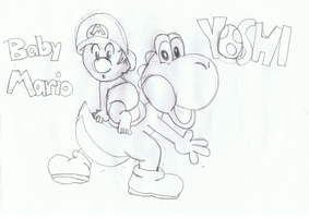 Yoshi and Baby Mario by dawnleapord