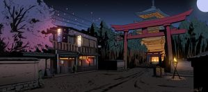 killer is dead concept art kyoto level by Tonyholmsten