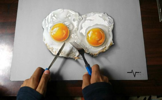 Realistic Half Fried Egg - Drawing by Anubhavg