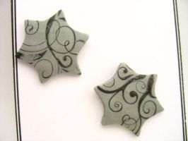 Silver polymer clay earrings by TopazTurtle