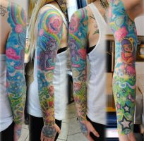 Full sleeve in colors girl by gettattoo