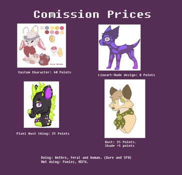 Comission Prices! [CLOSED] by PanMage