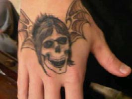M.Shadows's deathbat tattoo by urban01-C